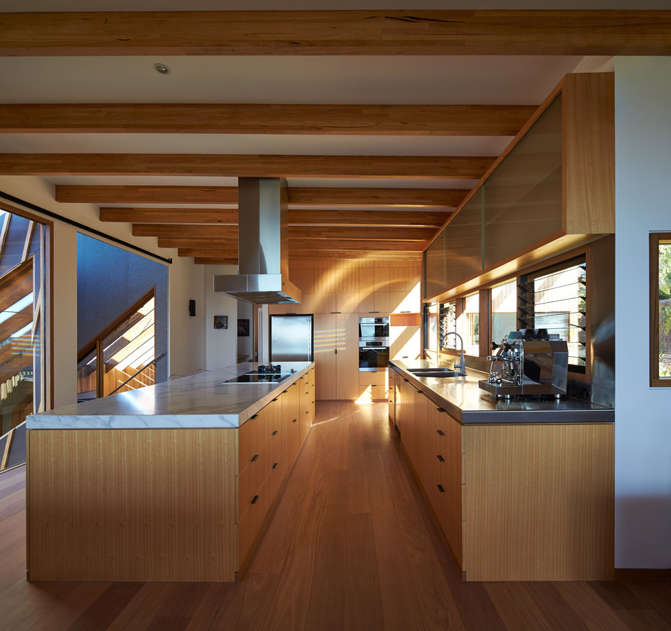 Overend Constructions, Split House, kitchen joinery, timber marble steel, BKK Architects