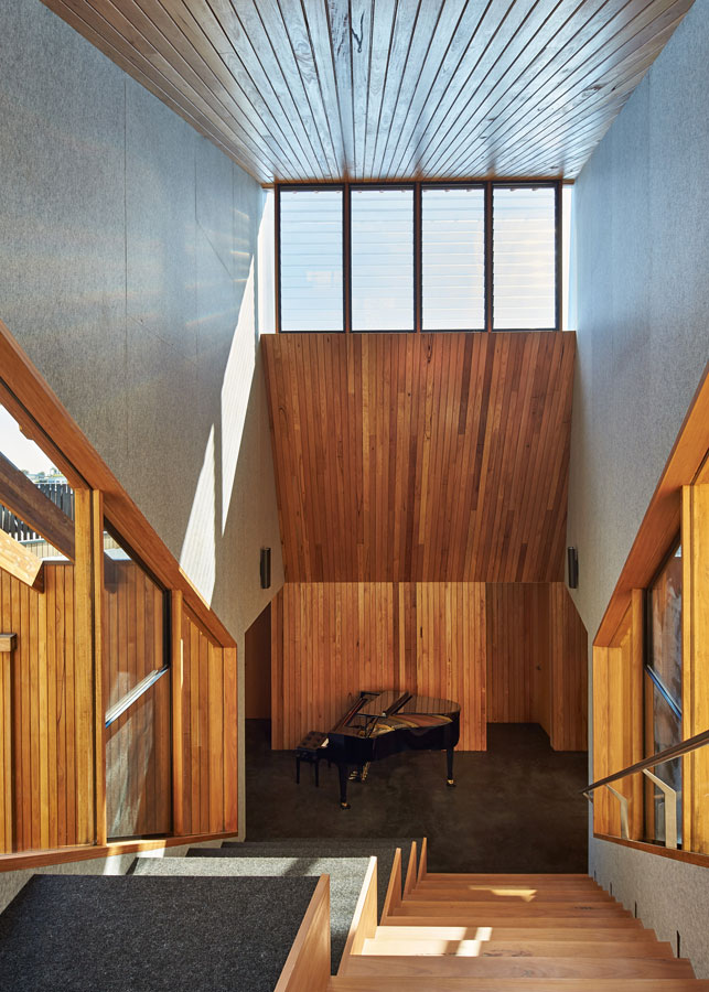 Overend Constructions, Split House design showcasing piano, stairs and stair seating, timber, BKK Architects