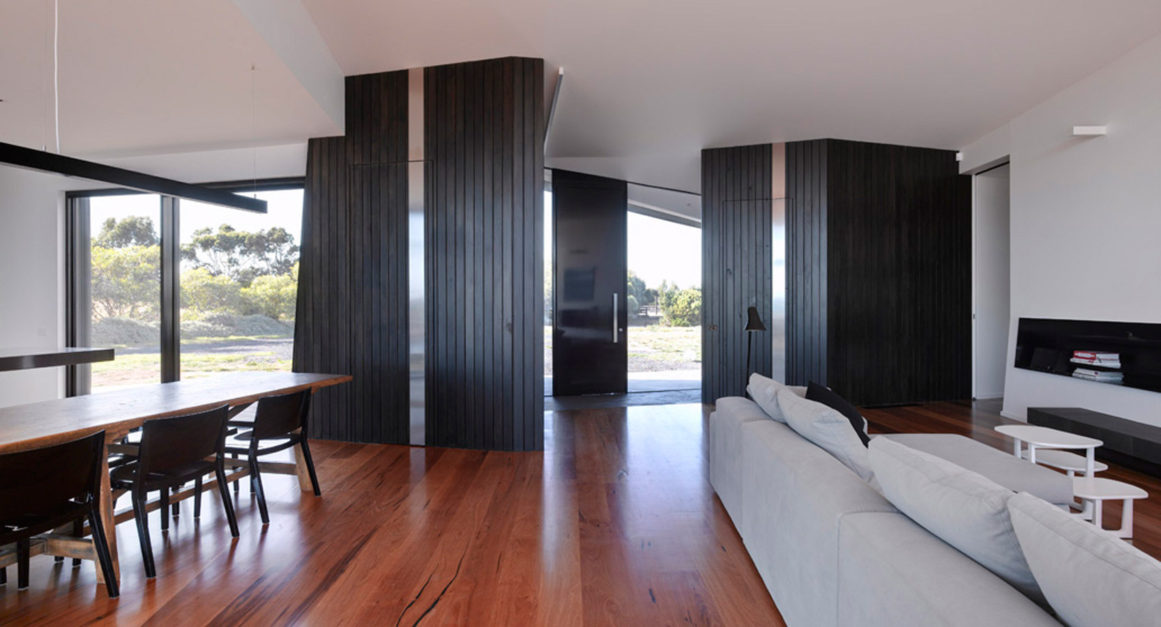 Overend Constructions, Beached House, lounge-dining view through to front entry