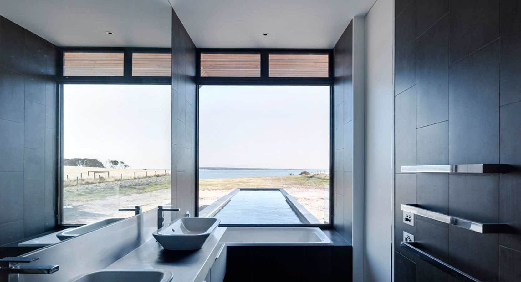 Overend Constructions, Beached House, bathroom with view to pool and sea