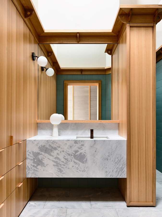 Overend Constructions, Belmont House, bathroom, marble basin, timber joinery