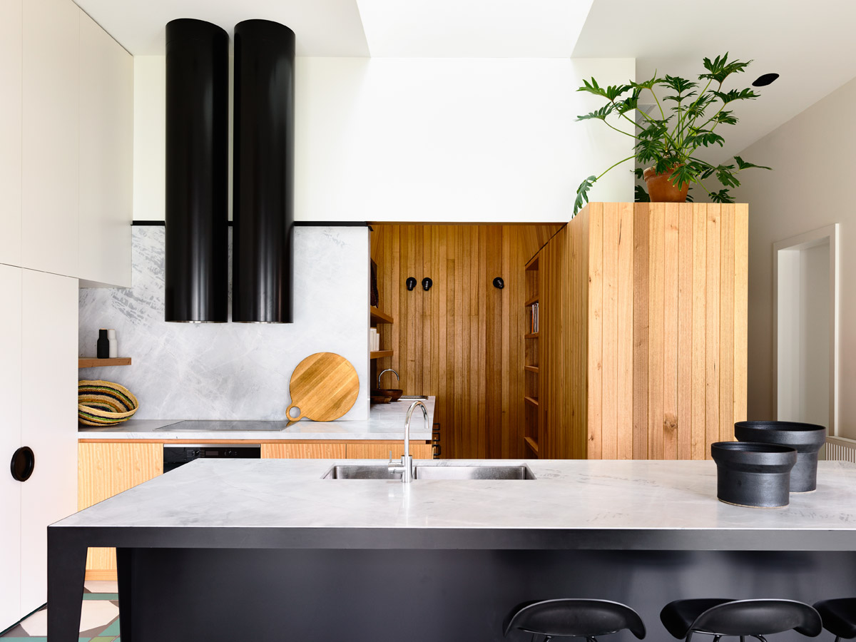 Overend Constructions, Belmont House, kitchen, marble, black steel, timber, white, black
