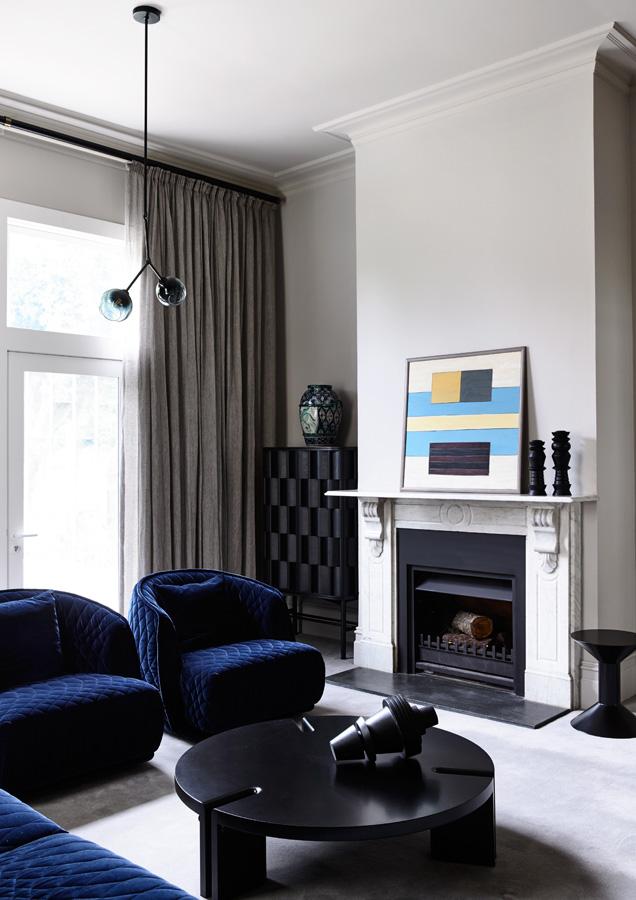 Overend Constructions, Belmont House, blue velvet lounge, marble fireplace, renovation