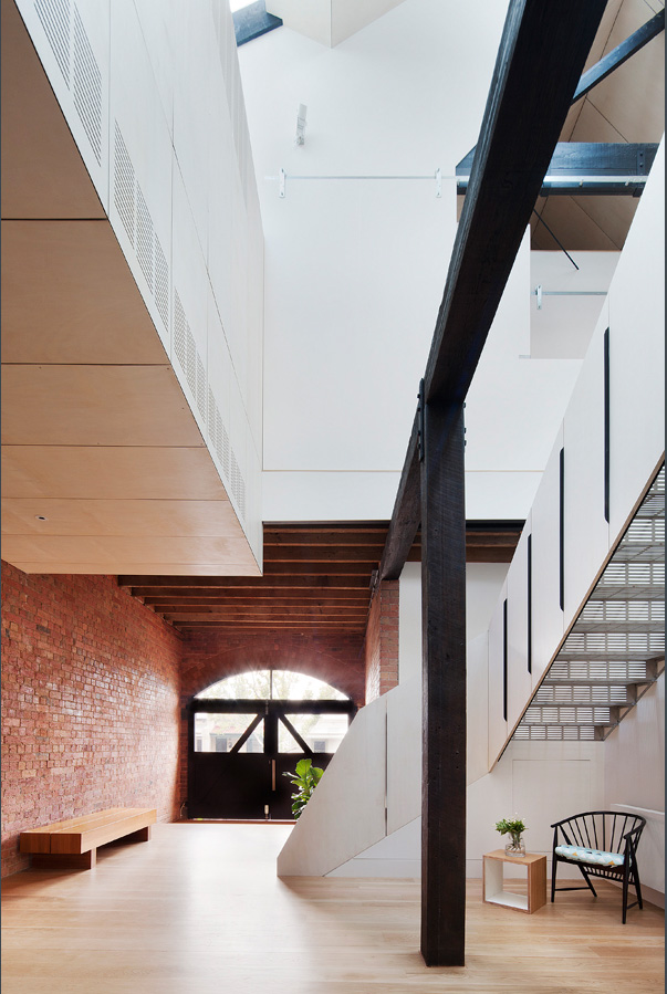 Overend Constructions, Water Factory, black timber and glass entry, black timber beams, staircase, feature brick, Andrew Simpson Architects