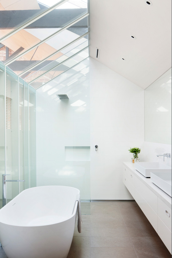 Overend Constructions, Water Factory, white bathroom, double basin, freestanding bath, Andrew Simpson Architects