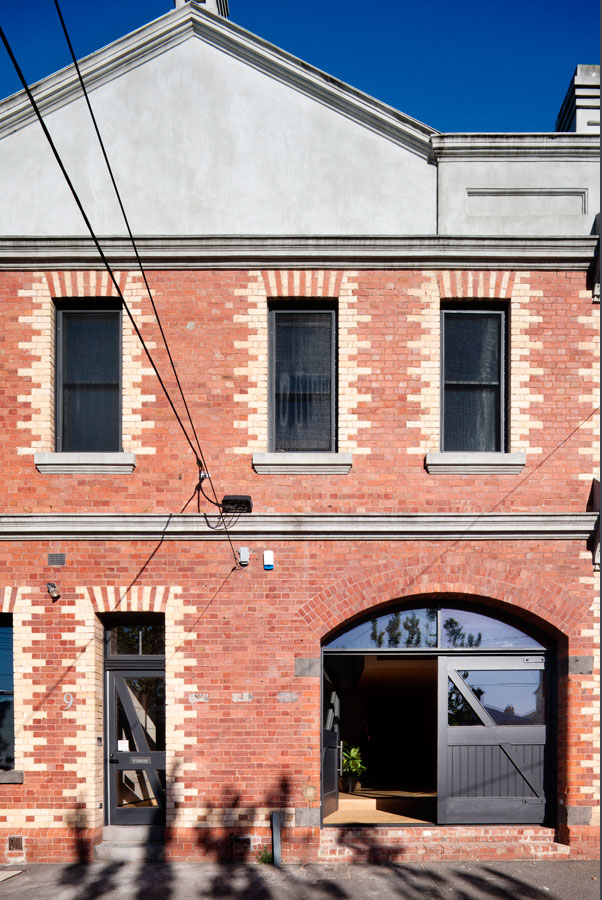 Overend Constructions, Water Factory, front facade, renovation, red brick, black timber windows-doors, Andrew Simpson Architects