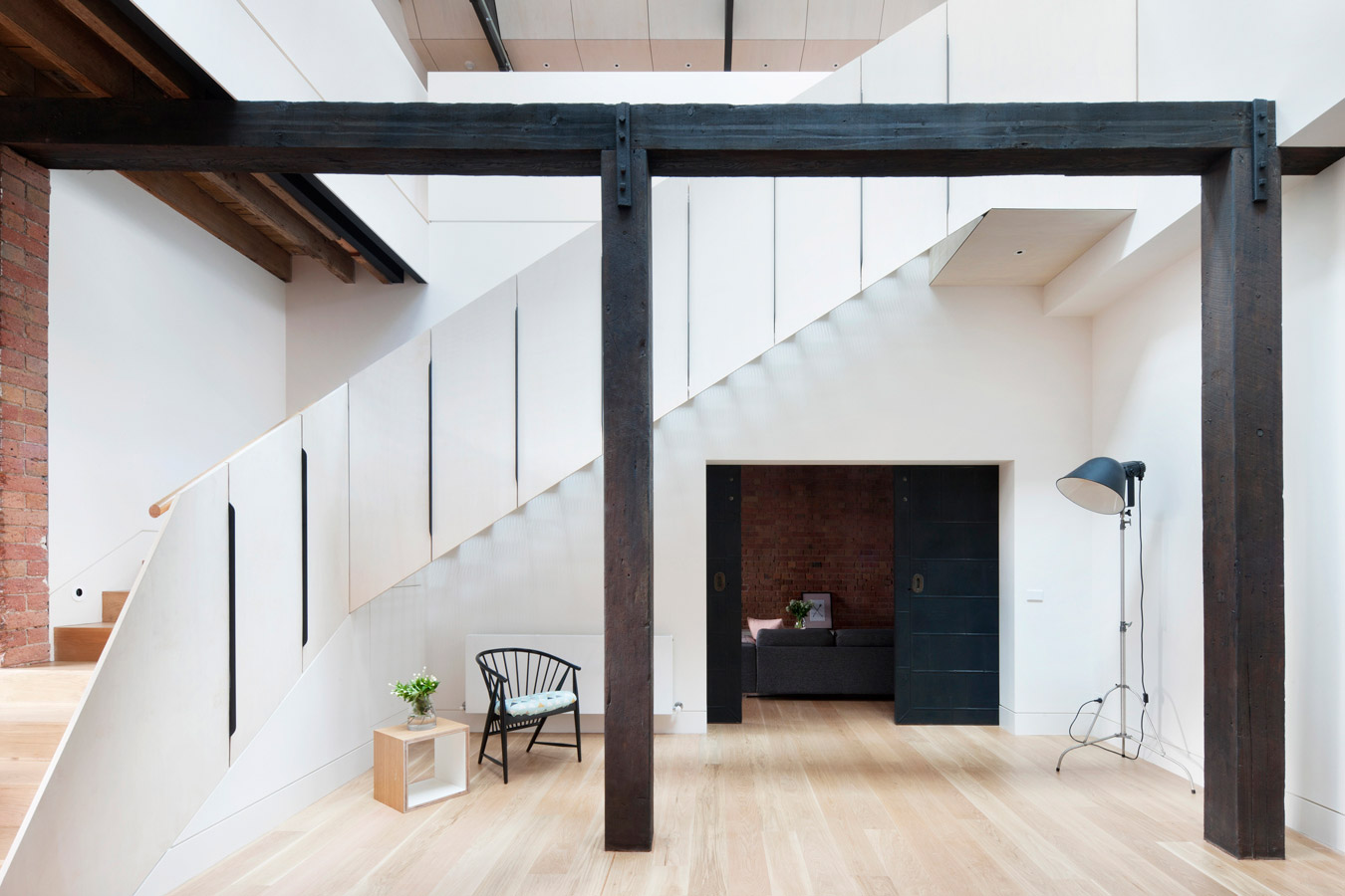 Overend Constructions, Water Factory, staircase feature, black timber beams, Andrew Simpson Architects