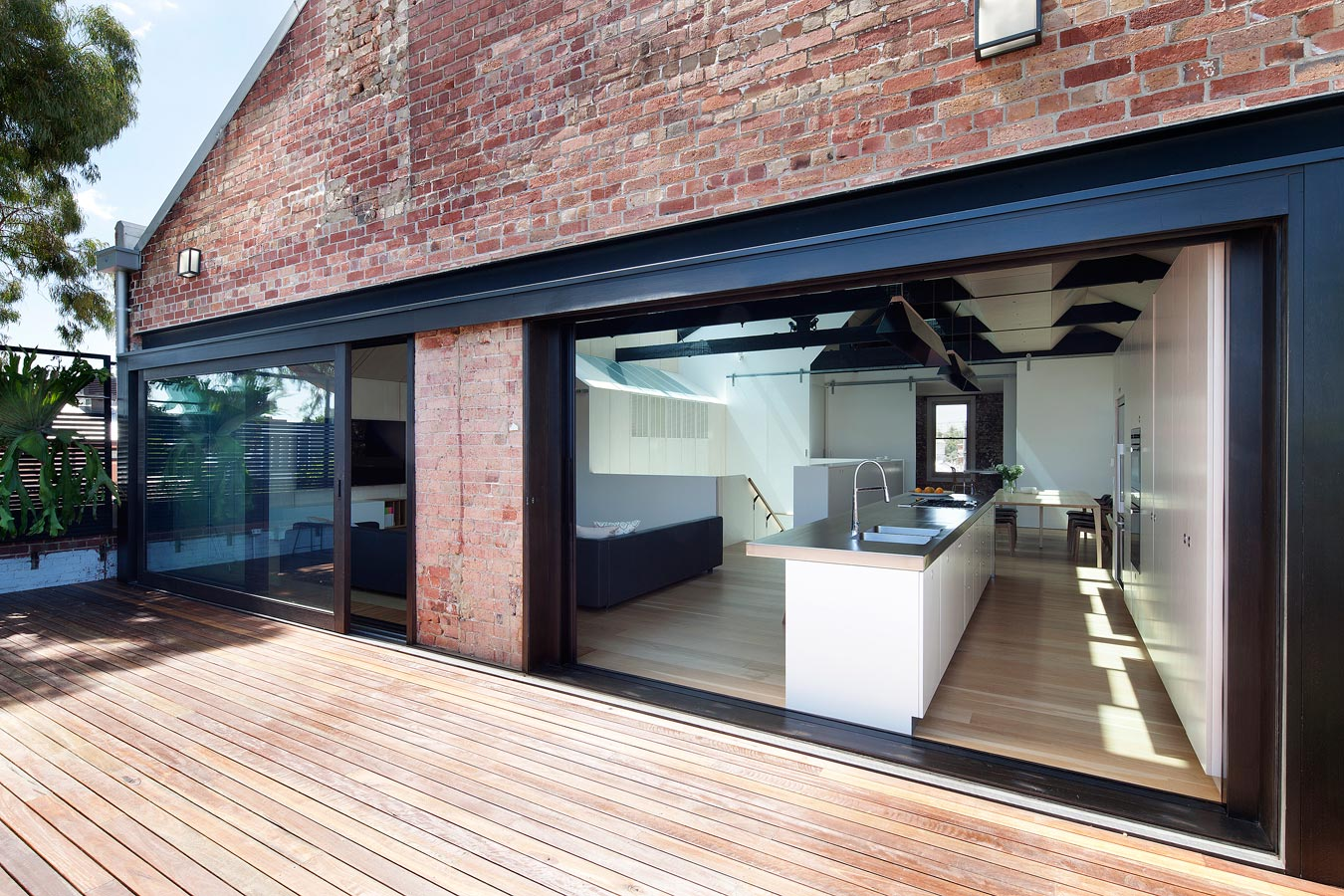Overend Constructions, Water Factory, back deck view to kitchen, massive sliding glass doors, Andrew Simpson Architects