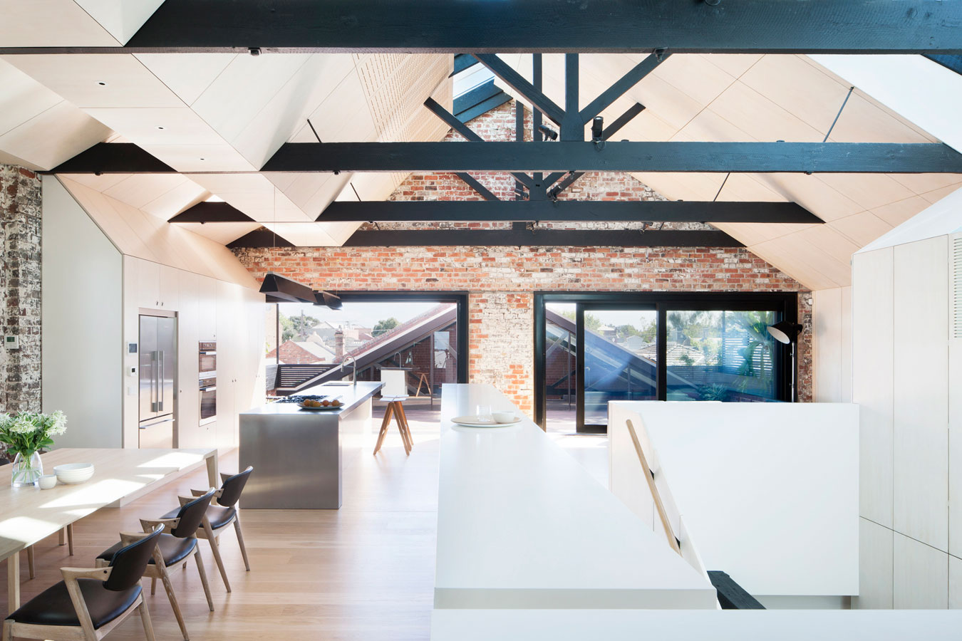 Overend Constructions, Water Factory, ceiling panel and beam feature, kitchen-dining, Andrew Simpson Architects