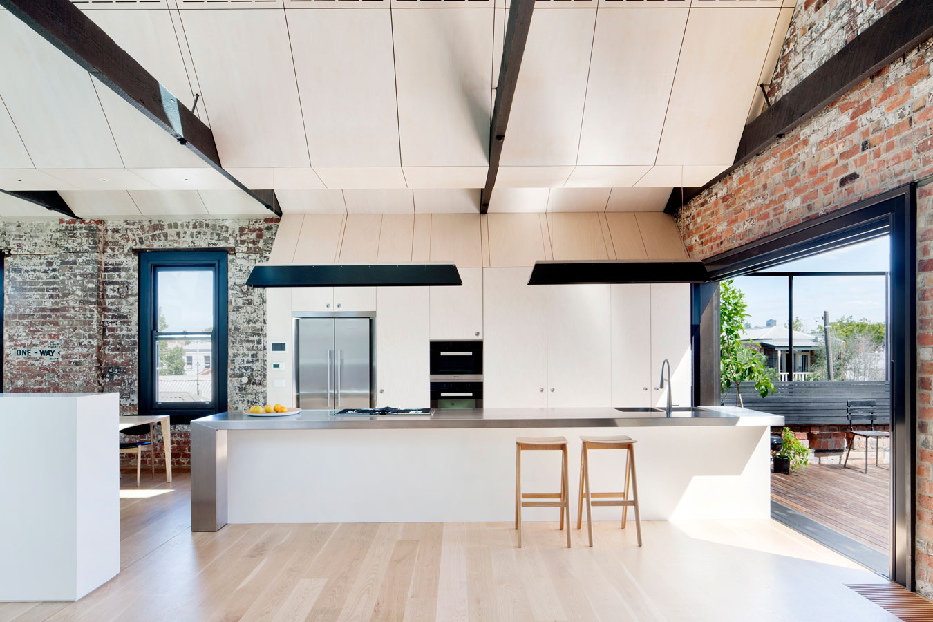 Overend Constructions, Water Factory, kitchen, timber flooring, brick interior walls, Andrew Simpson Architects