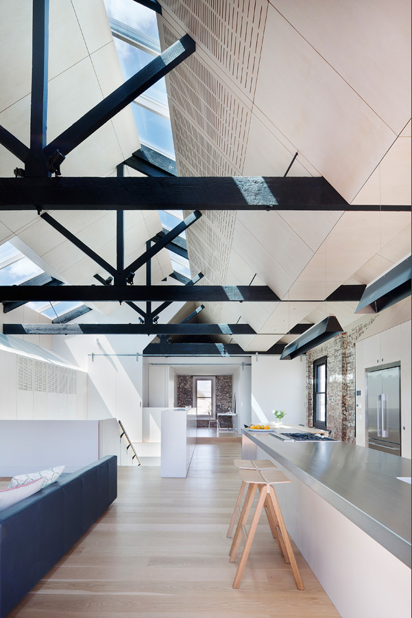 Overend Constructions, Water Factory, kitchen-lounge, ceiling beams, skylights, ply, Andrew Simpson Architects