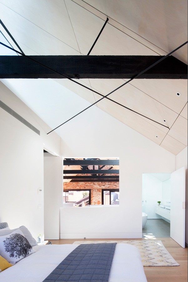 Overend Constructions, Water Factory, master bedroom, view to ensuite, ply ceiling, Andrew Simpson Architects