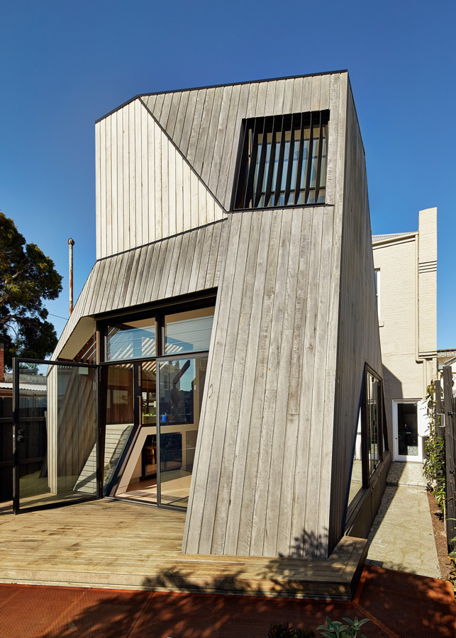 Overend Constructions, Bower, back exterior facade, timber cladding, glass doors, decking, Andrew Simpson Architects