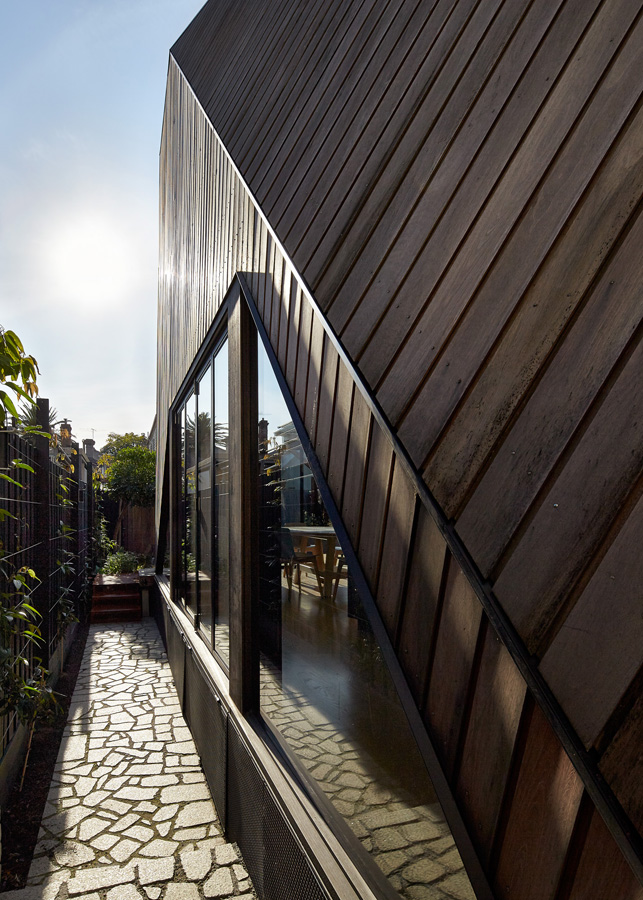 Overend Constructions, Bower, exterior side facade, timber cladding, crazy paving, Andrew Simpson Architects