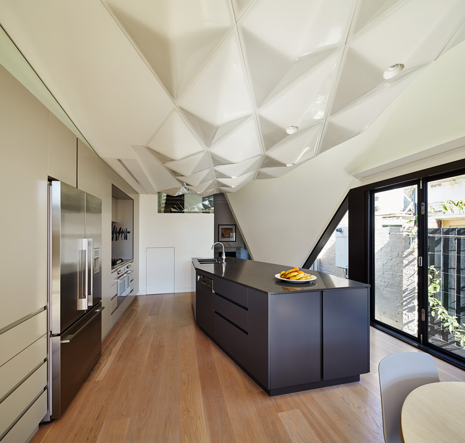 Overend Constructions, Bower, kitchen with ceiling feature, timber flooring, glass doors, Andrew Simpson Architects