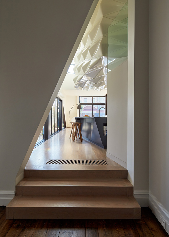 Overend Constructions, Bower, feature entry to kitchen, timber flooring, Andrew Simpson Architects
