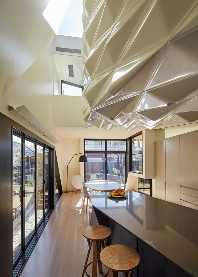 Overend Constructions, Bower, kitchen, dining, glass sliding doors, Andrew Simpson Architects