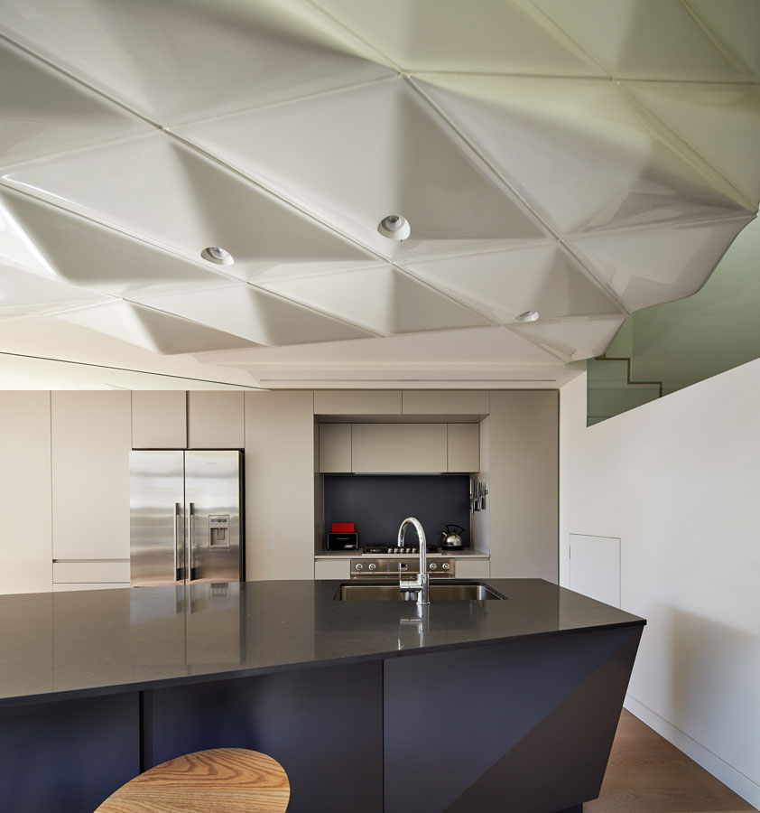 Overend Constructions, Bower, kitchen, island bench and ceiling feature, Andrew Simpson Architects