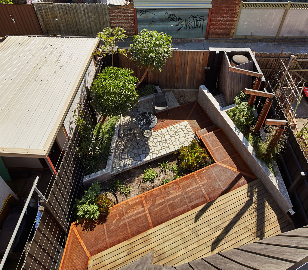 Overend Constructions, Bower, backyard view, stone, steel mesh and timber decking, Andrew Simpson Architects