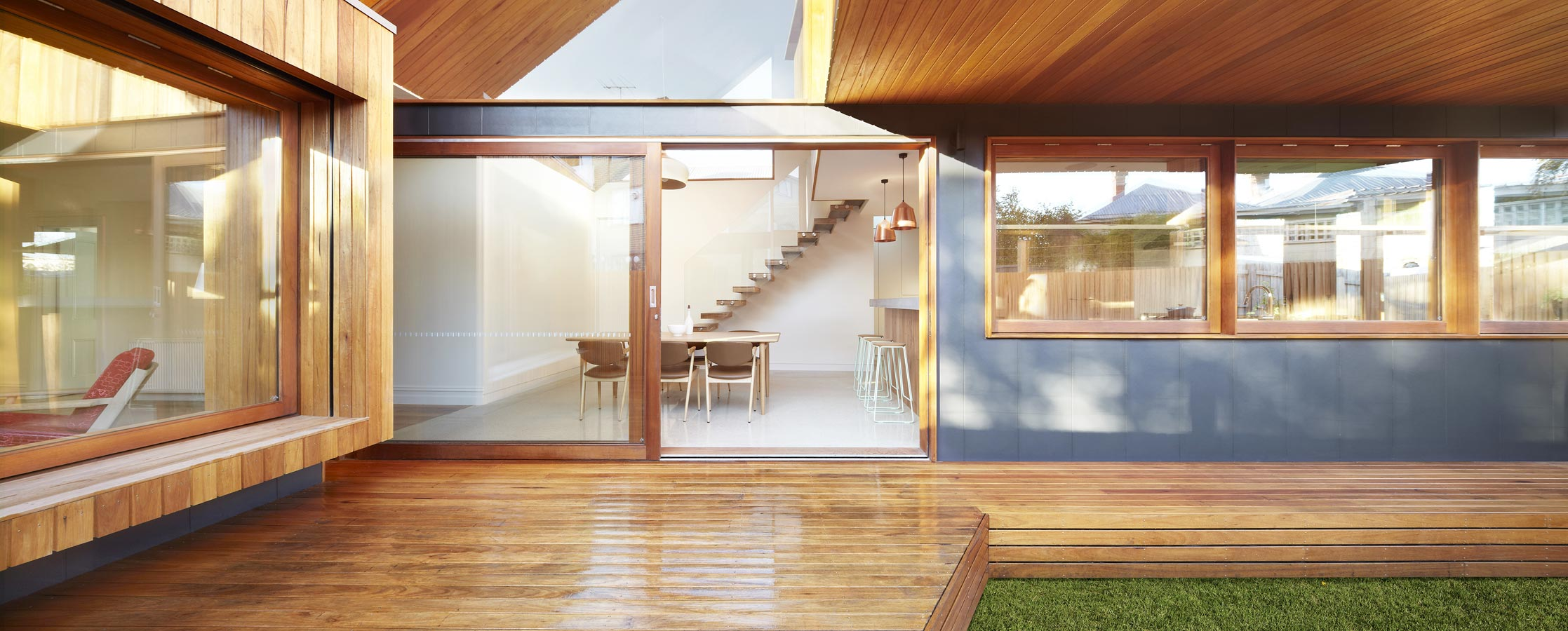 Overend Constructions, Fenwick, JFA, exterior view to dining and stairs, timber decking, large glass doors and windows