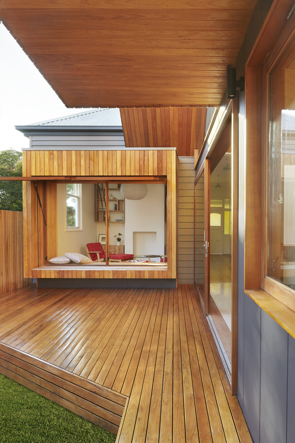 Overend Constructions, Fenwick, JFA, timber deck, view to lounge, open hinge windows