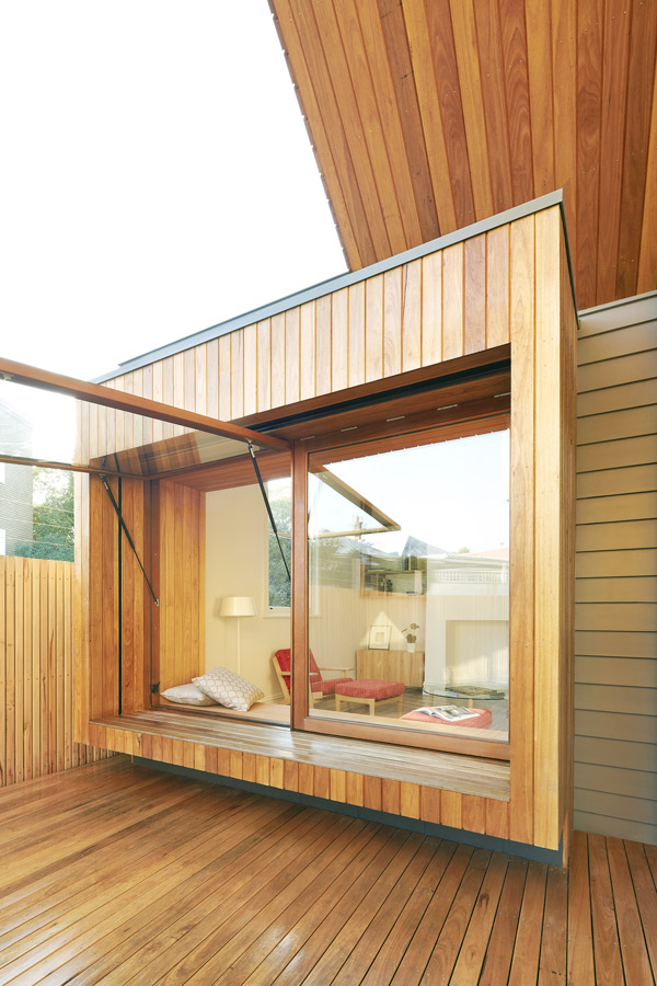 Overend Constructions, Fenwick, JFA, exterior view to lounge, open hinge windows, timber decking