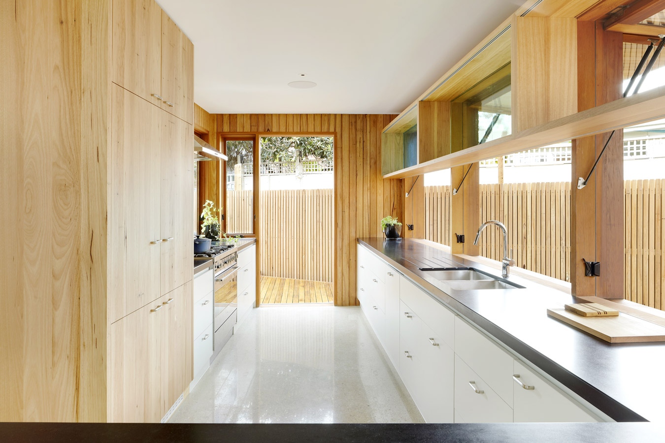 Overend Constructions, Fenwick, JFA, kitchen galley-style, timber and white joinery