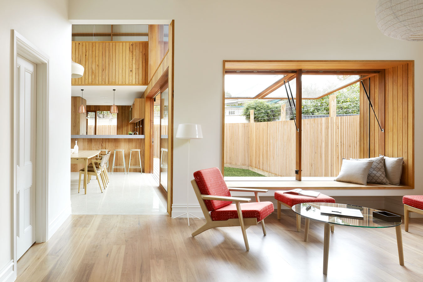 Overend Constructions, Fenwick, JFA, view from lounge, open hinge windows, timber floor, modern