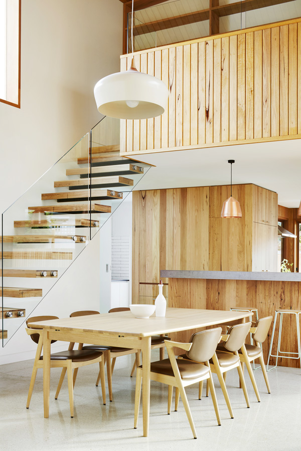 Overend Constructions, Fenwick, JFA, dining, view to upstairs, natural timber furniture, stairs and joinery