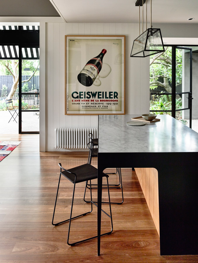 Overend Constructions, Kew II, Kennedy Nolan, kitchen bench detail, view to outside, timber floor, black steel features