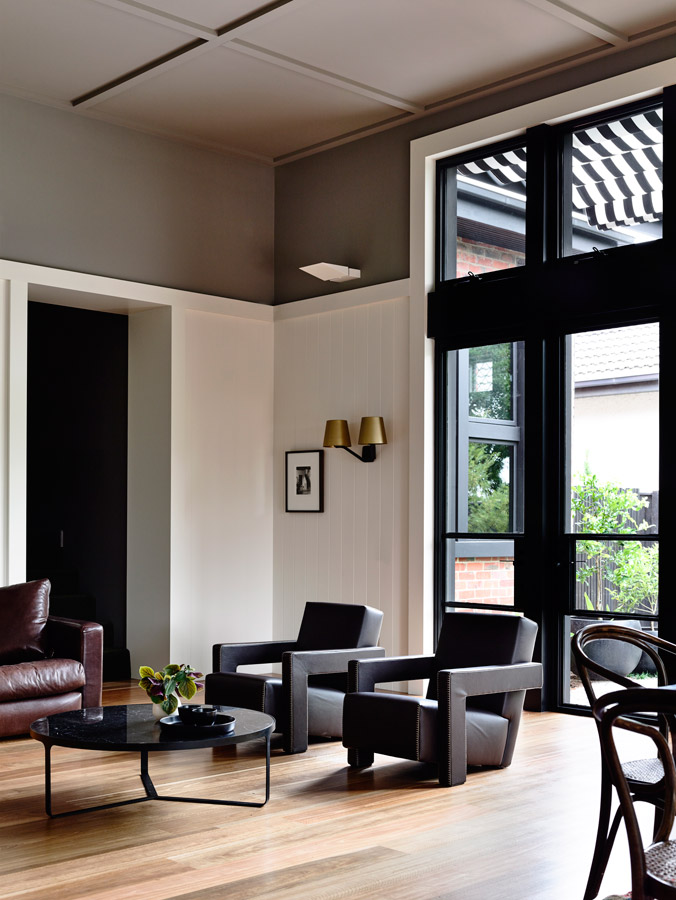 Overend Constructions, Kew I, Kennedy Nolan, lounge, timber floor, steel-framed windows