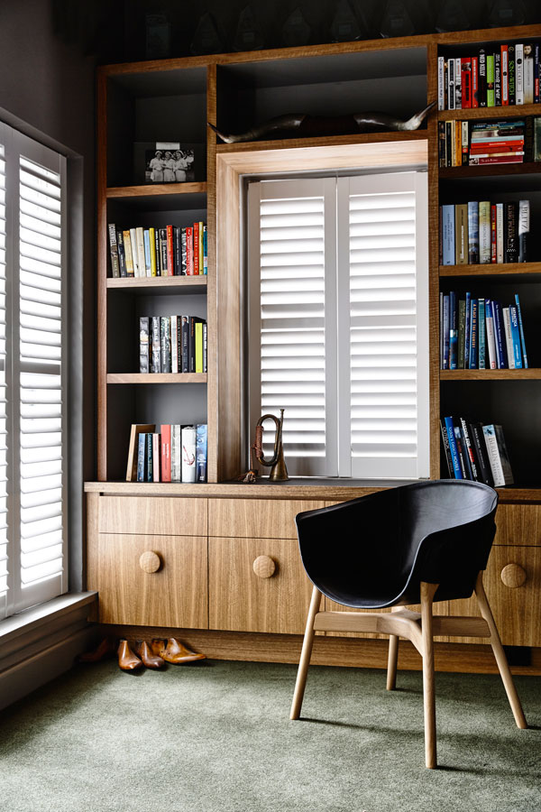 Overend Constructions, Kew II, Kennedy Nolan, library-study, timber joinery, plantation window shutters