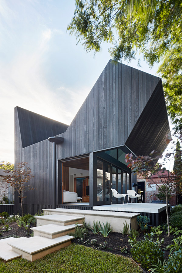 Overend Constructions, Hatherlie, backyard, timber exterior, inside-outside, stone steps, Andrew Simpson Architects