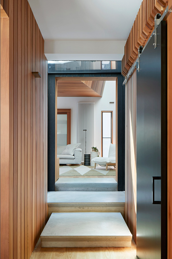 Overend Constructions, Hatherlie, hallway, timber cladding, sliding panel door, Andrew Simpson Architects