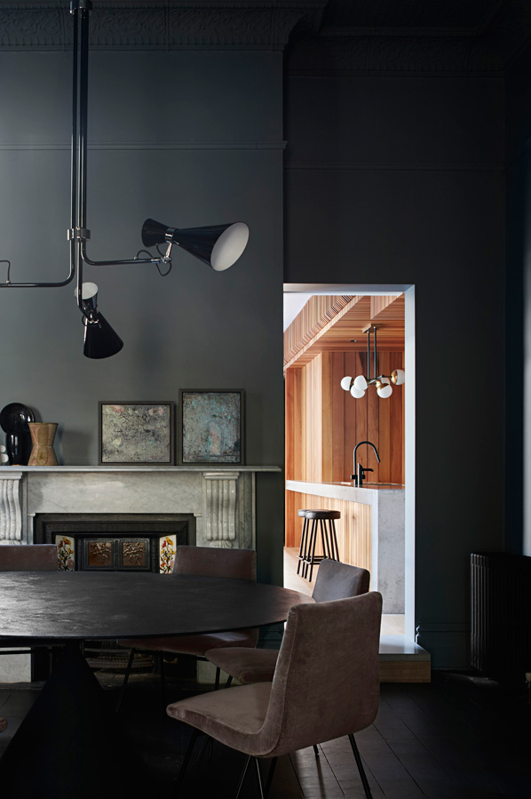 Overend Constructions, Hatherlie, dining room, view to kitchen, black decor, Andrew Simpson Architects