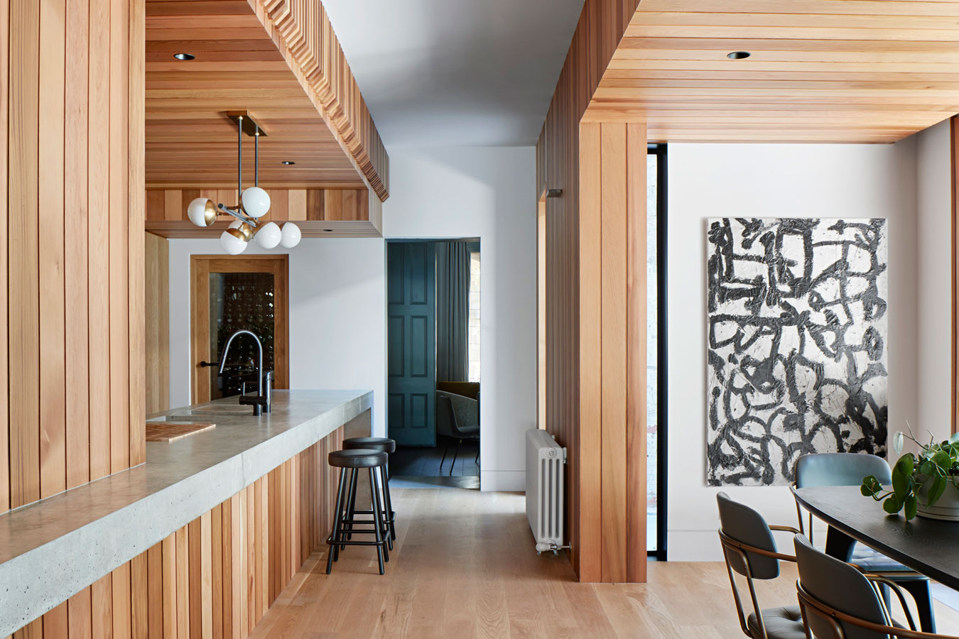 Overend Constructions, Hatherlie, kitchen-dining, timber joinery feature, Andrew Simpson Architects