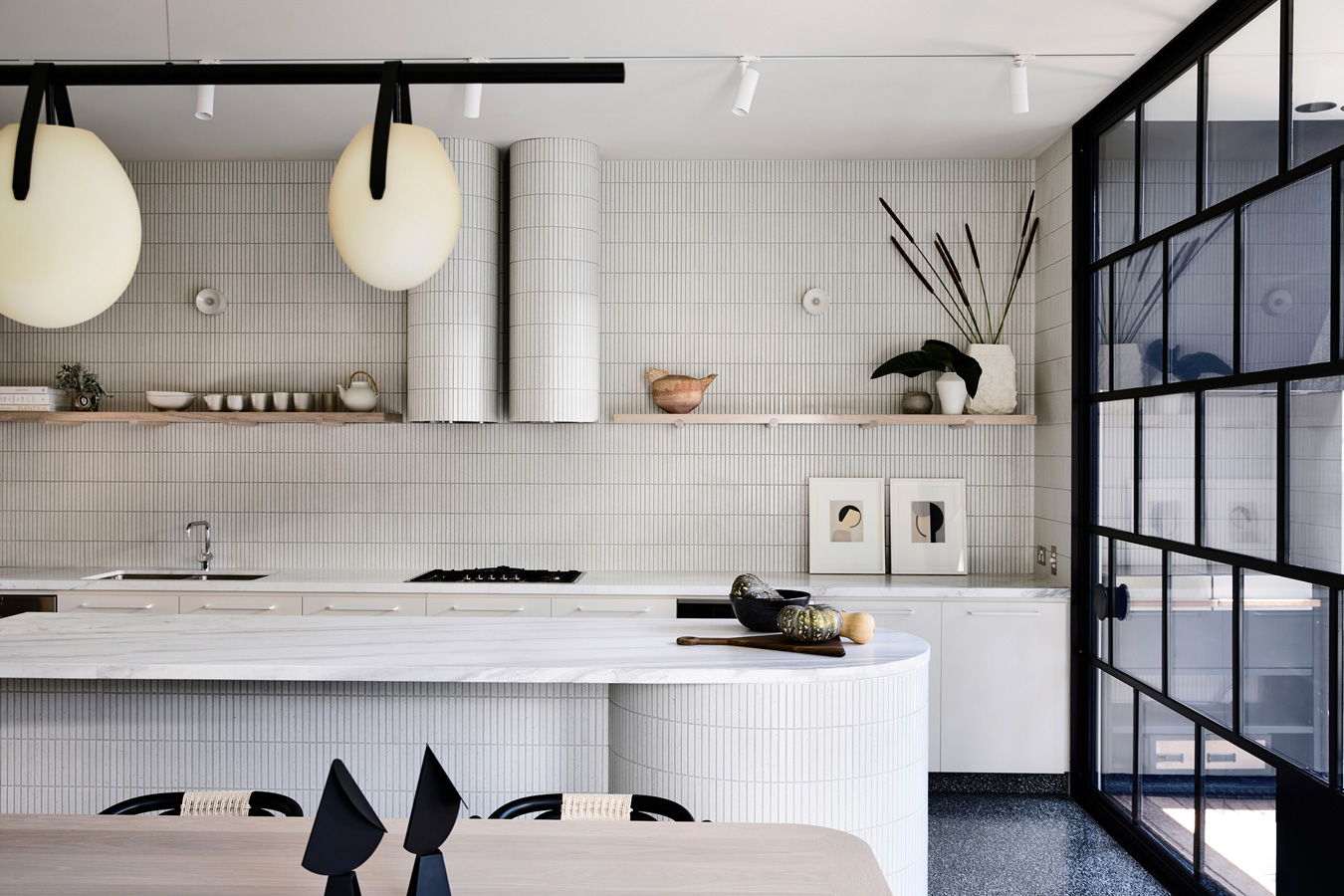 Caroline House, Kennedy Nolan Architects, Overend Constructions, kitchen, white tiles, marble tops, architectural, design, joinery