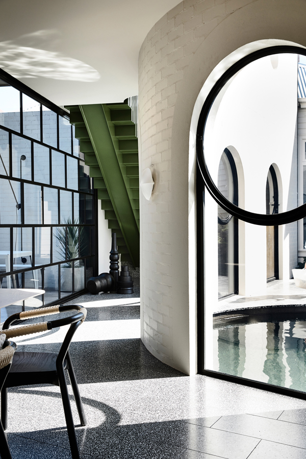 Caroline House, Kennedy Nolan Architects, Overend Constructions, view to pool, staircase, dining, custom windows, architectural, design, joinery