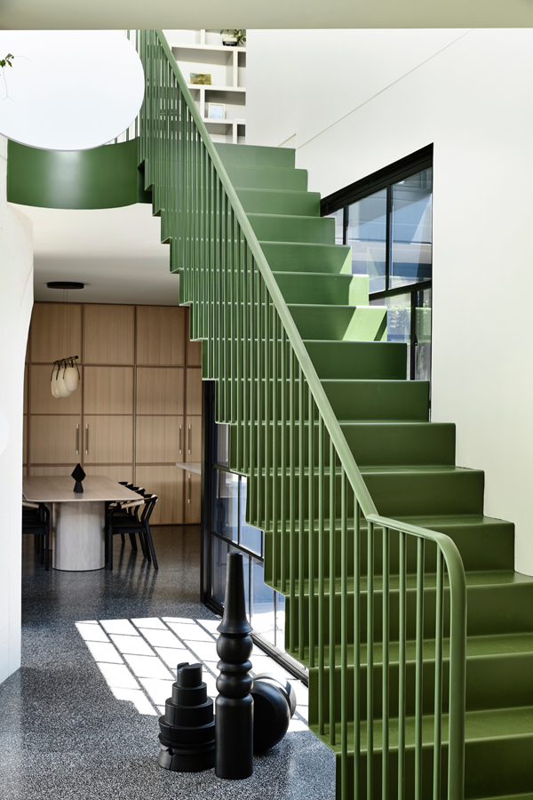 Caroline House, Kennedy Nolan Architects, Overend Constructions, green staircase, dining area, architectural, design, joinery