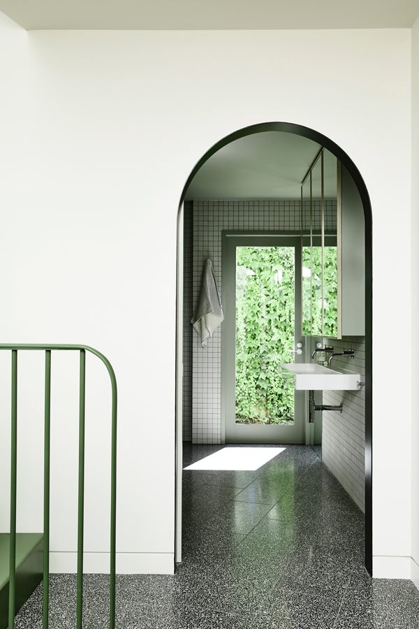 Caroline House, Kennedy Nolan Architects, Overend Constructions, view to bathroom, arched doorway, architectural, design, joinery