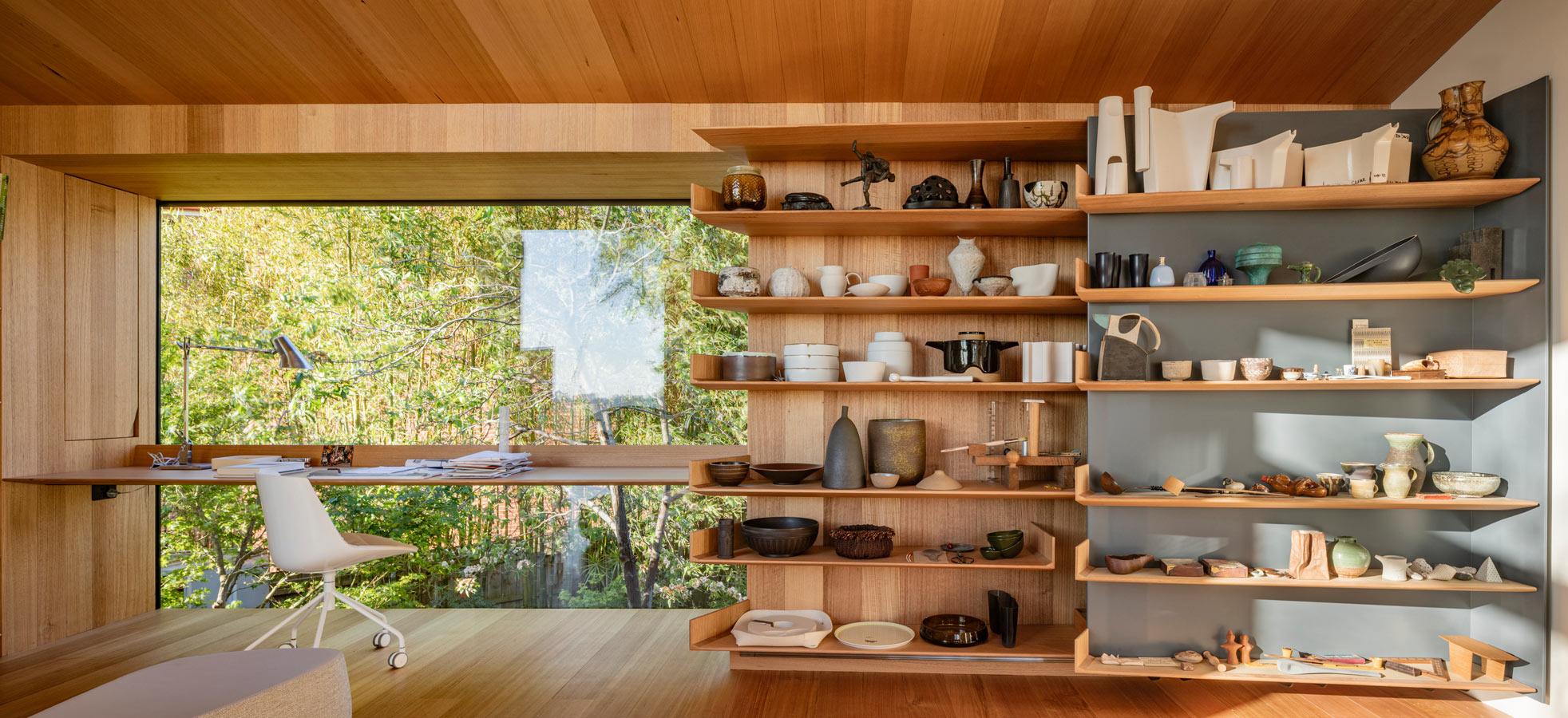 Kew Residence, John Wardle, Overend Constructions, bespoke, office desk, sliding shelves, architectural, design, joinery
