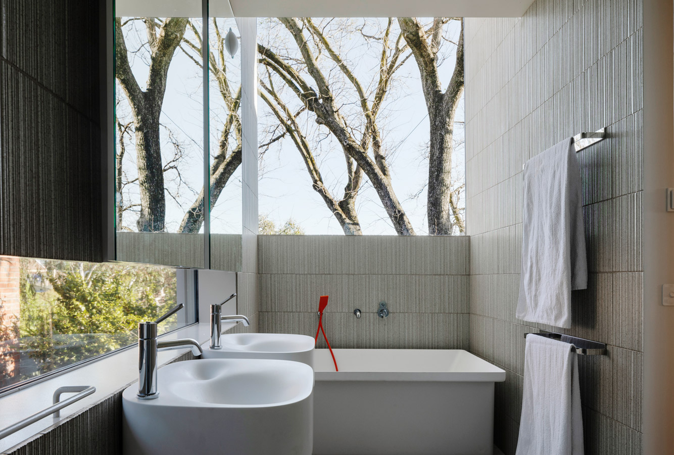 Kew Residence, John Wardle, Overend Constructions, tiled bathroom, architectural, design, joinery