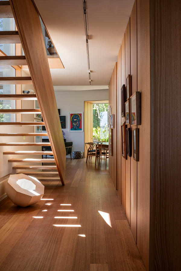 Kew Residence, John Wardle, Overend Constructions, bespoke, under staircase, view to dining, architectural, design, joinery