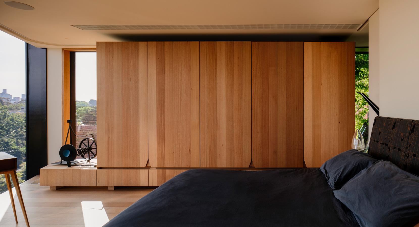 Kew Residence, John Wardle, Overend Constructions, master bedroom, custom timber wardrobe, architectural, design, joinery