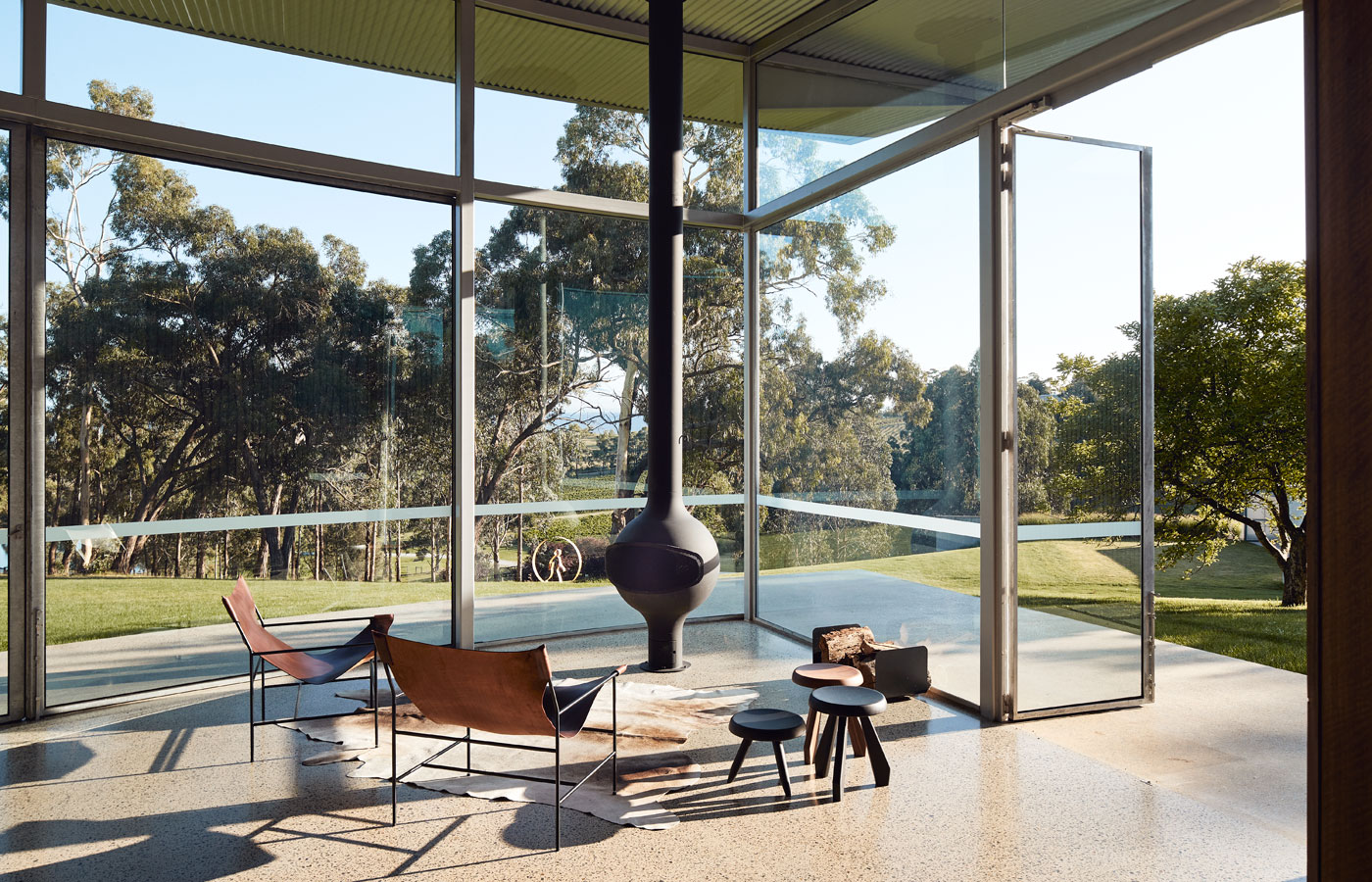 Medhurst Winery Cellar Door, fireplace, lounge area opening to deck, Overend Constructions, Folk Architects, architectural, design, joinery