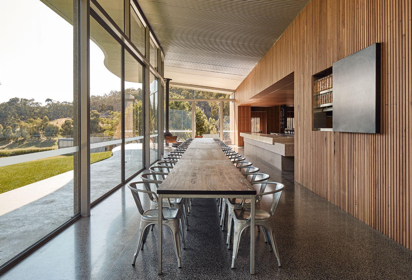 Medhurst Winery Cellar Door, interior, long view, Overend Constructions, Folk Architects, architectural, design, joinery