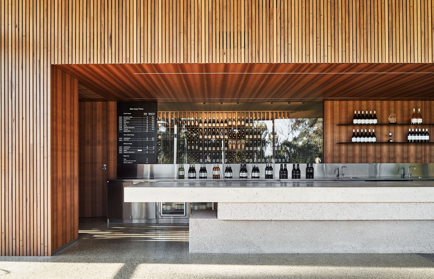 Medhurst Winery Cellar Door, bespoke bar, lefthand view, Overend Constructions, Folk Architects, architectural, design, joinery