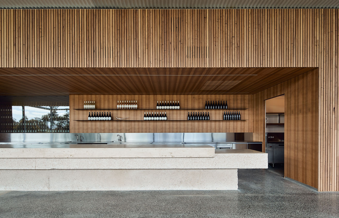 Medhurst Winery Cellar Door, bespoke bar righthand view, Overend Constructions, Folk Architects, architectural, design, joinery