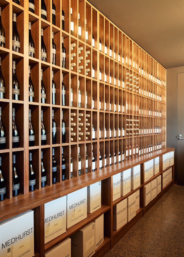 Medhurst Winery Cellar Door, wine, timber display shelving, Overend Constructions, Folk Architects, architectural, design, joinery