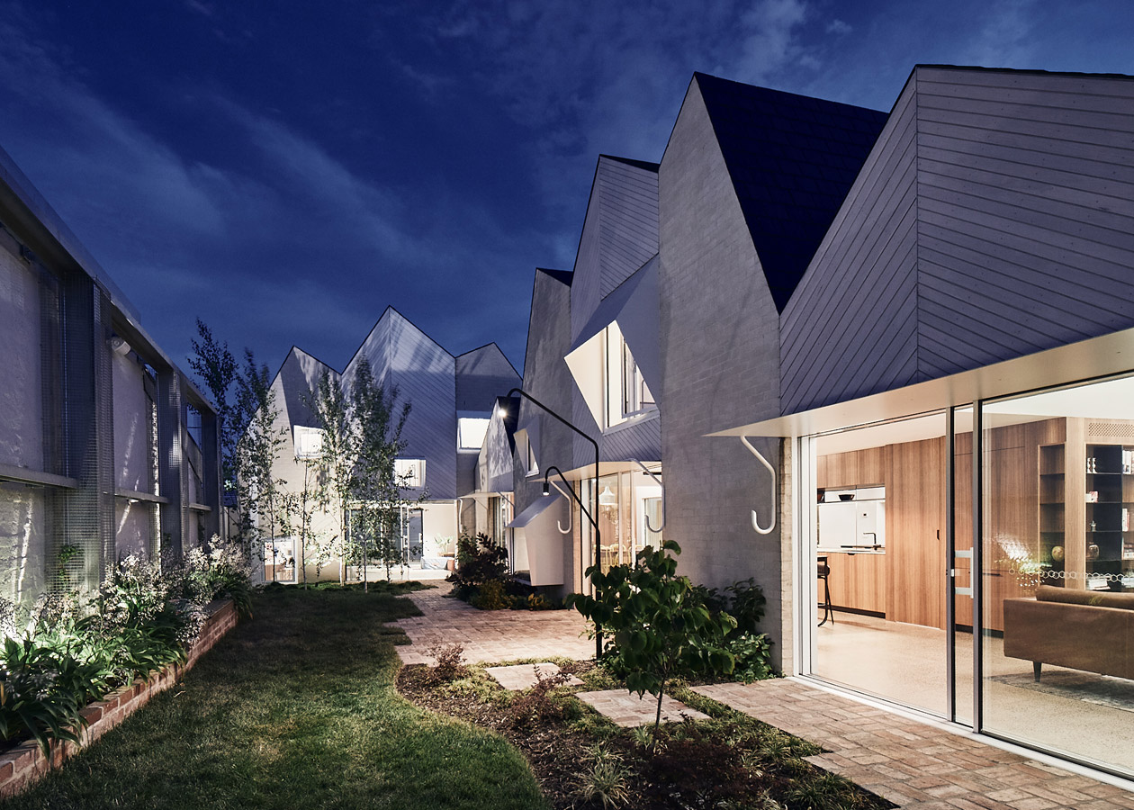RaeRae, Austin Maynard Architects, Overend Constructions, garden view at night, zigzag roof line, architectural, design, joinery